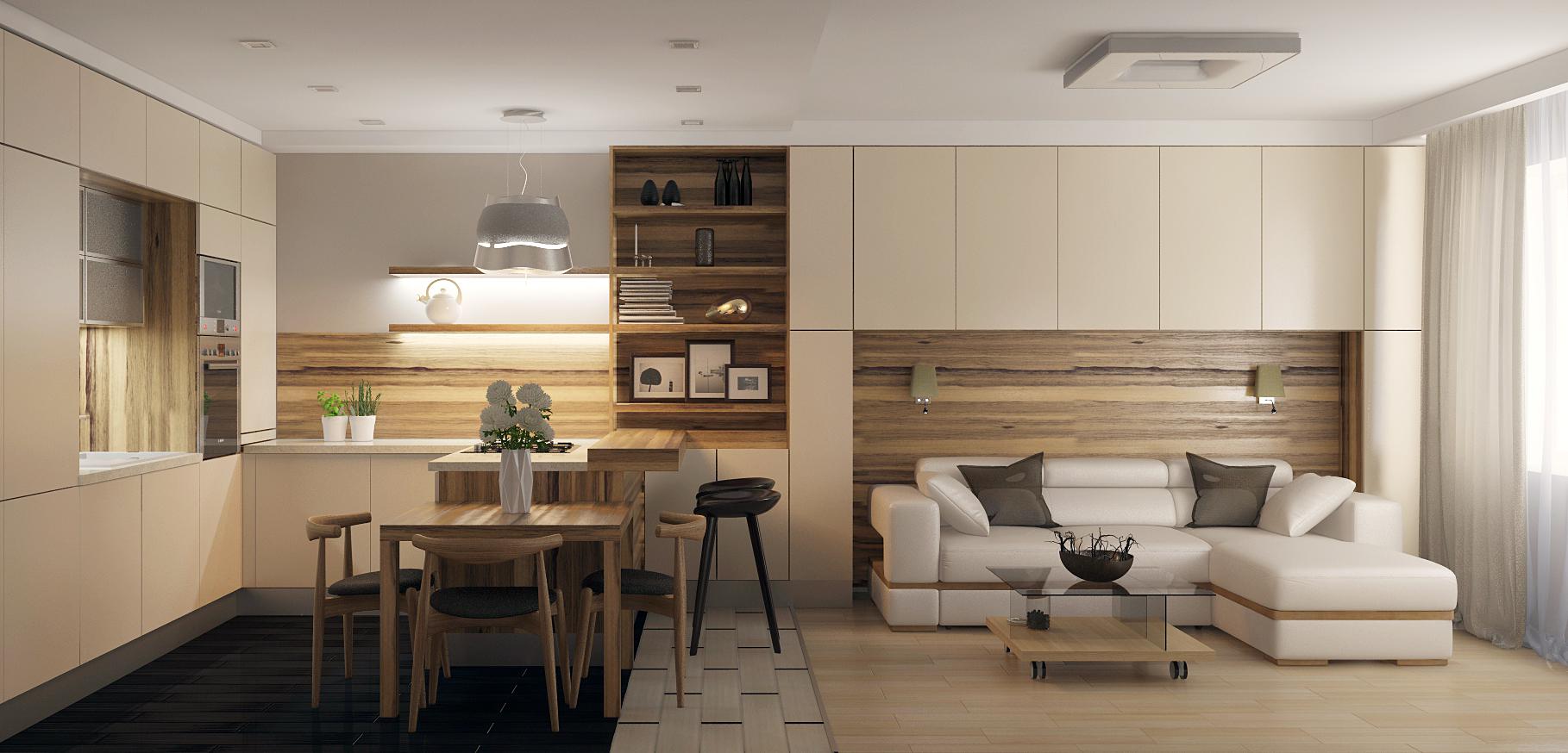 Кухня-гостиная в эко стиле