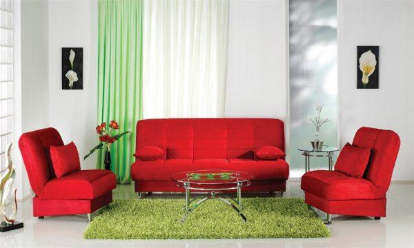 Сочетание красного и зеленого цвета в интерьер