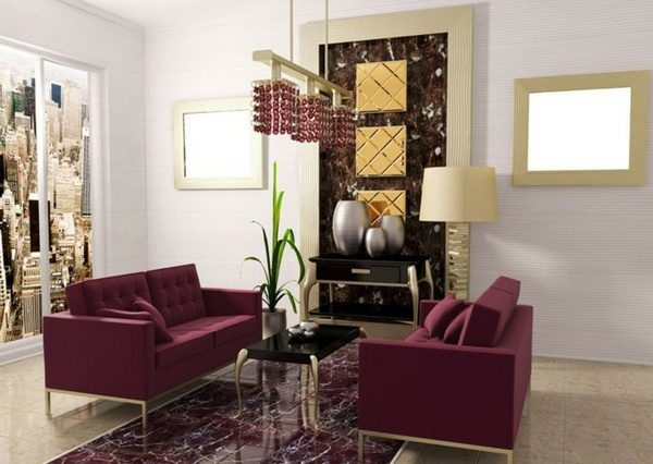 Бордовая мебель в интерьер