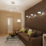 Дизайн гостиной в коричнево бежевых тонах
