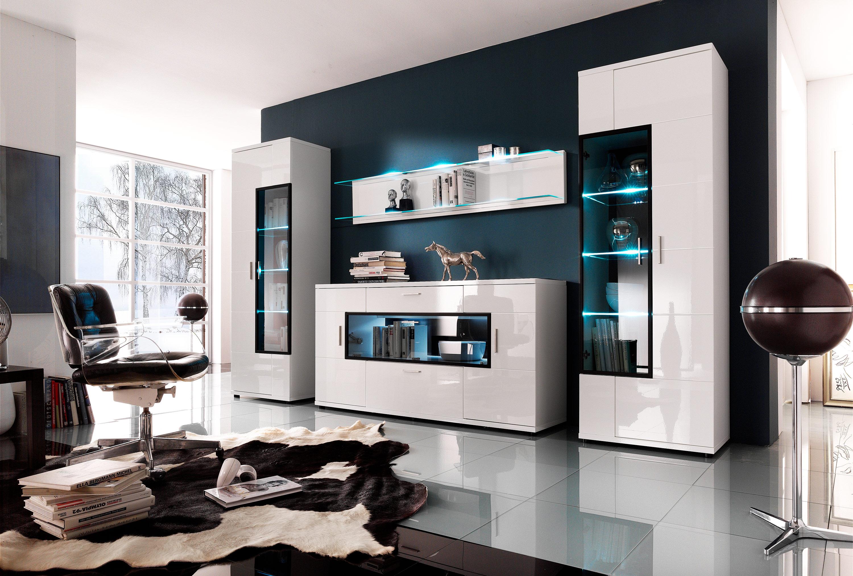Модульная стенка в гостиную с подсветкой