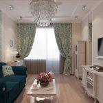 Оттенки бирюзового цвета в интерьере гостиной