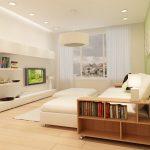 Светлая гостиная-спальня в стиле минимализм