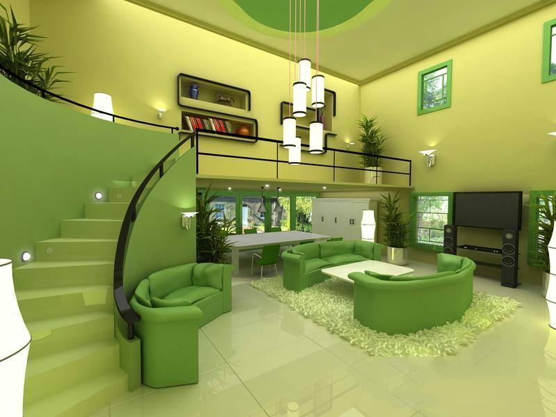 Современная зеленая гостиная