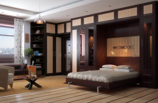 Кровать-трансформер в интерьер гостиной спальни