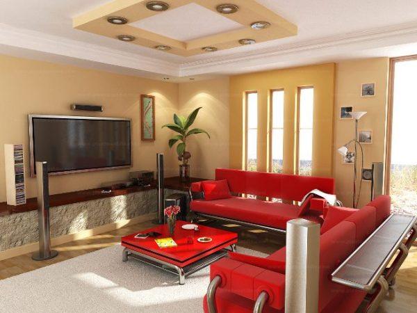 Бежевая гостиная с красным диваном
