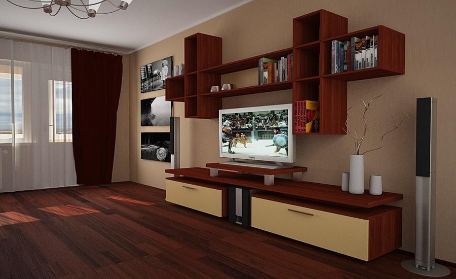 Открытые полки в современной гостиной