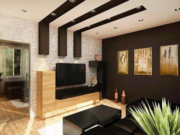 Гостиная в этно стиле с отделкой из камня и дерева