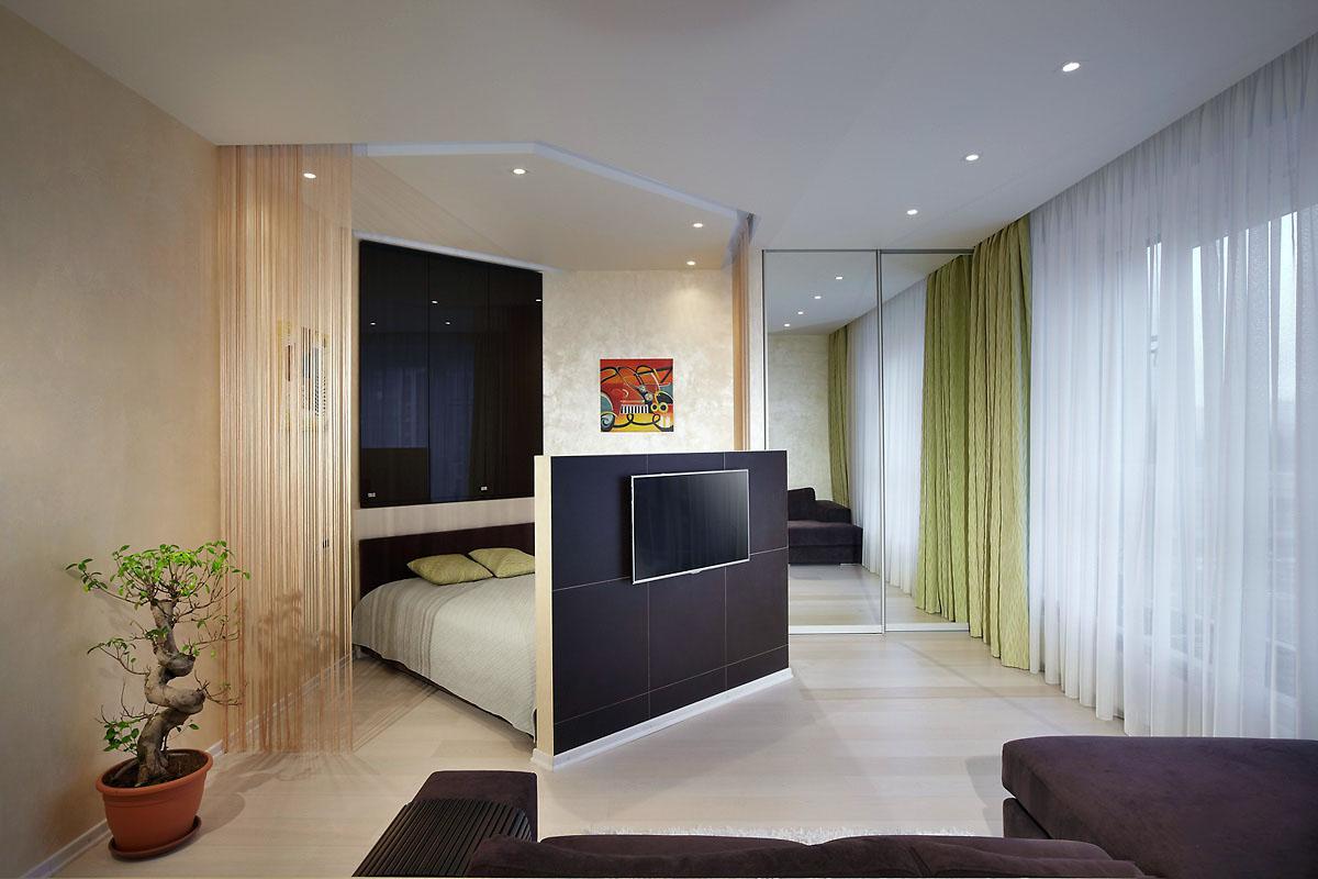 Дизайн и интерьер гостиной со спальным местом.