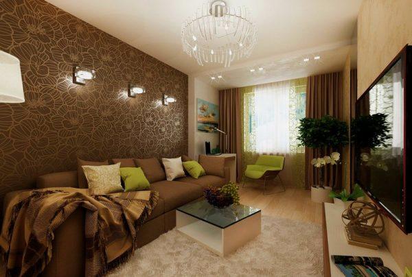 Интерьер гостиной в коричнево-бежевых тонах.