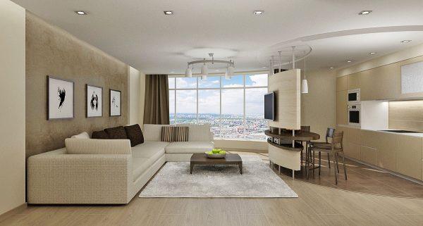 Бежевая гостиная в стиле минимализм