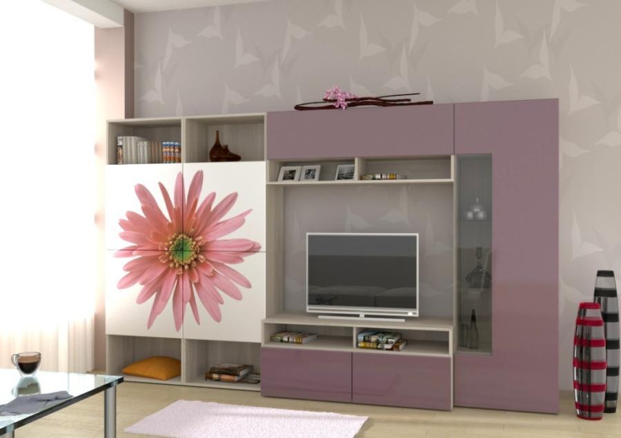 Фасад модульной стенки из нескольких цветов