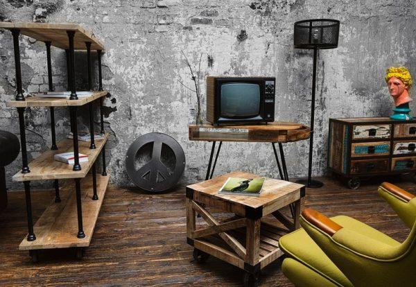 Мебель из дерева и металла в стиле лофт