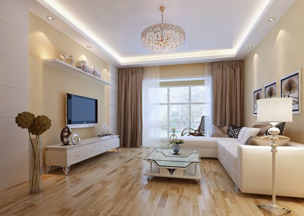 Бежево-белый интерьер гостиной
