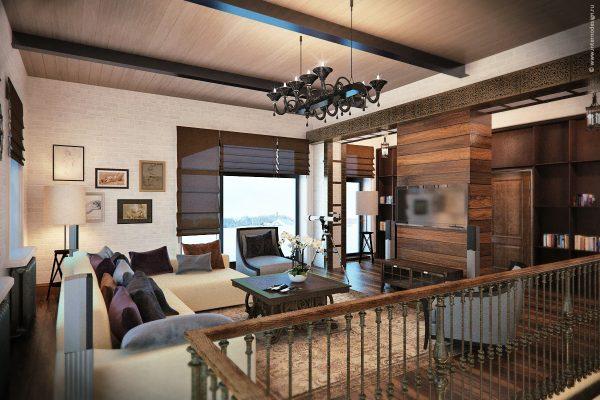 Дизайн гостиной в стиле лофт в загородном доме