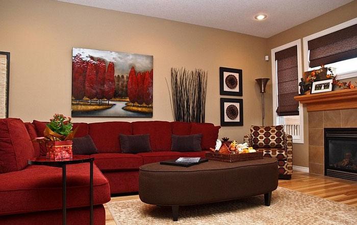 Интерьер для красного дивана