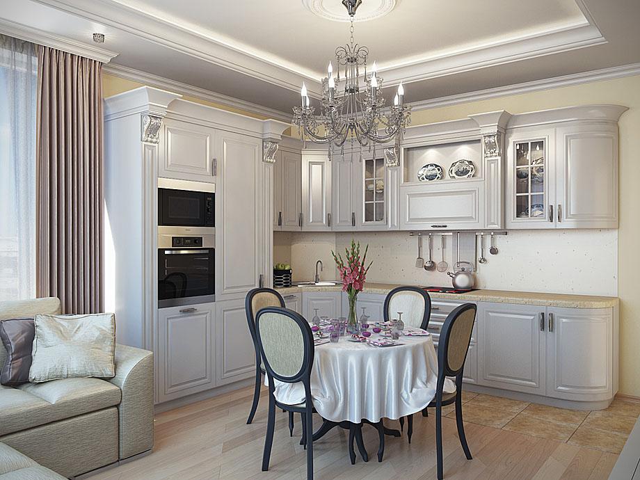 Интерьер гостиная с кухней