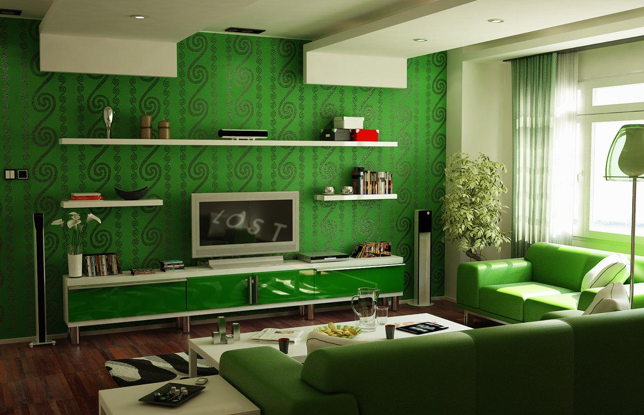 интерьер гостиной в зеленых тонах.