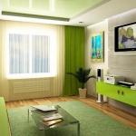 Зеленый дизайн гостиной.