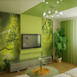 Маленькая гостиная в зеленых тонах