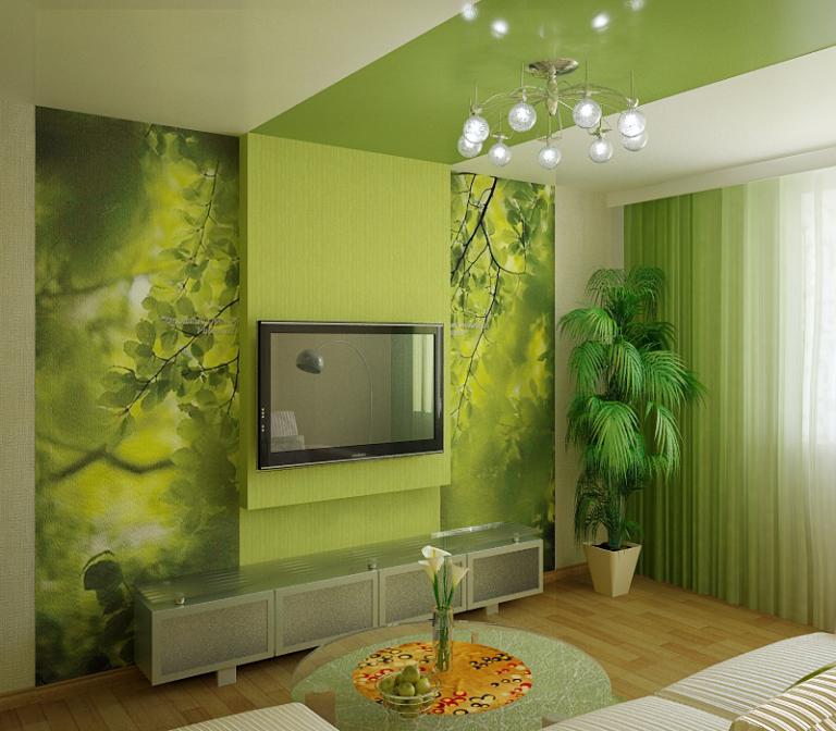 Идеи для гостиной в зеленых тонах