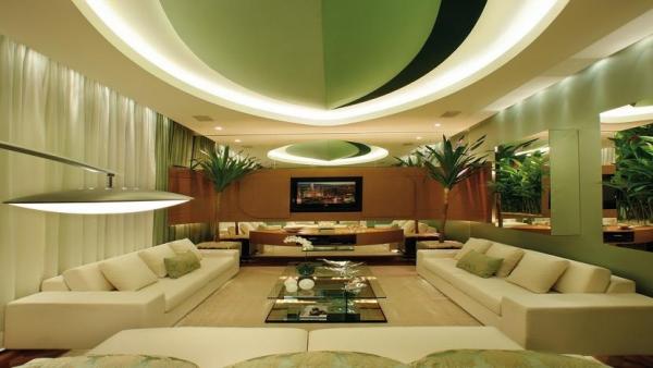 Роскошная гостиная с элементами эко стиля