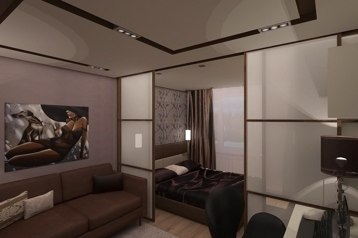Интерьер гостиной совмещенной со спальней.