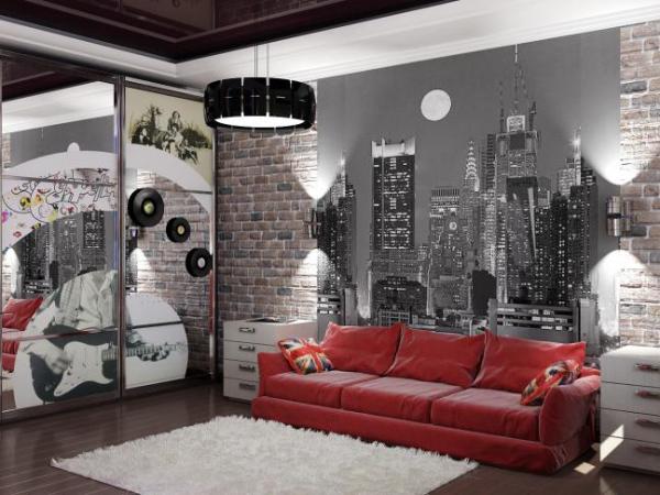 Интерьер в стиле лофт с красным диваном