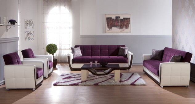 Удачное сочетание серого и фиолетового цвета