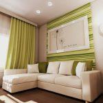 Бежево-зеленая гостиная