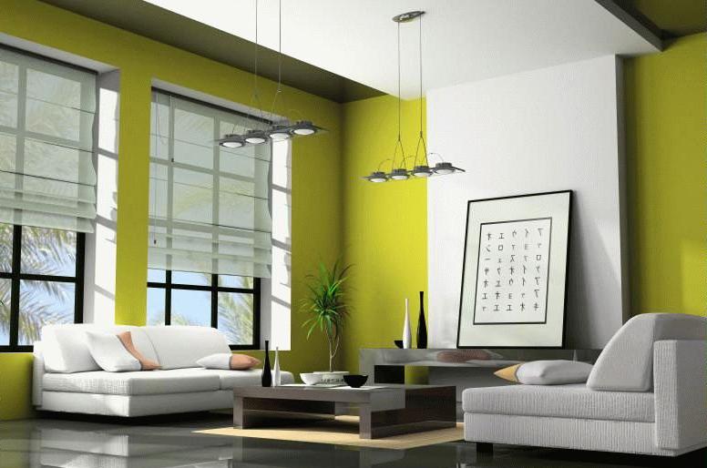 Белая мебель в зеленой гостиной