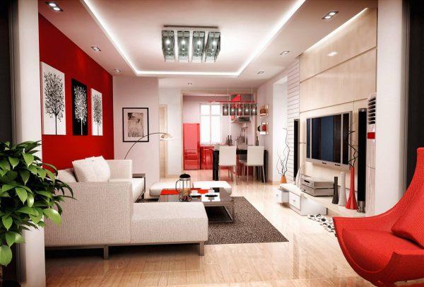 Яркая гостиная в современном стиле