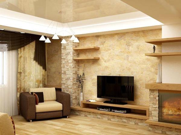 Стены оформленные декоративной штукатуркой
