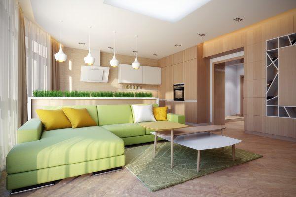 Умиротворяющая атмосфера кухни-гостиной в эко-стиле