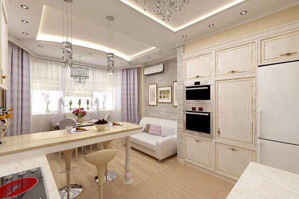 Кухня 14 кв м с диваном и барной стойкой