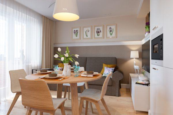Современный дизайн кухни- гостиной
